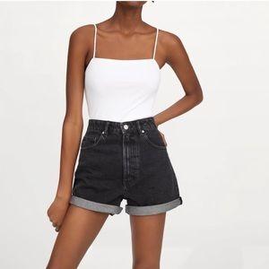 Zara | mom fit high waisted black denim shorts